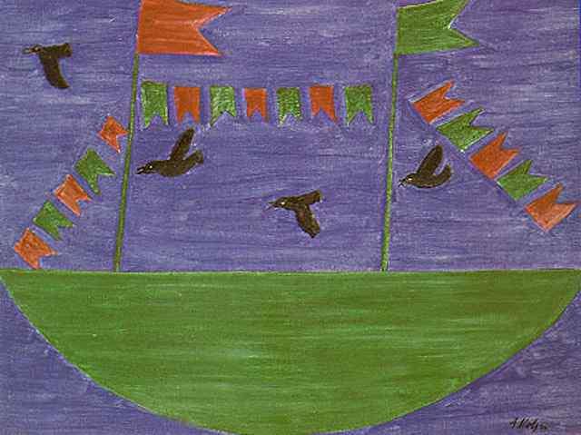 Alfredo Volpi - Barco com Bandeirinhas e Pássaros
