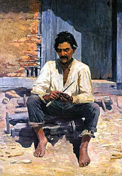 José Ferraz de Almeida Júnior - Caipira picando fumo (Estudo)