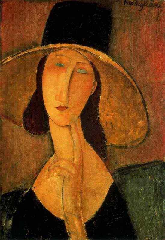 Amedeo Modigliani - Retrato de uma mulher com chapéu