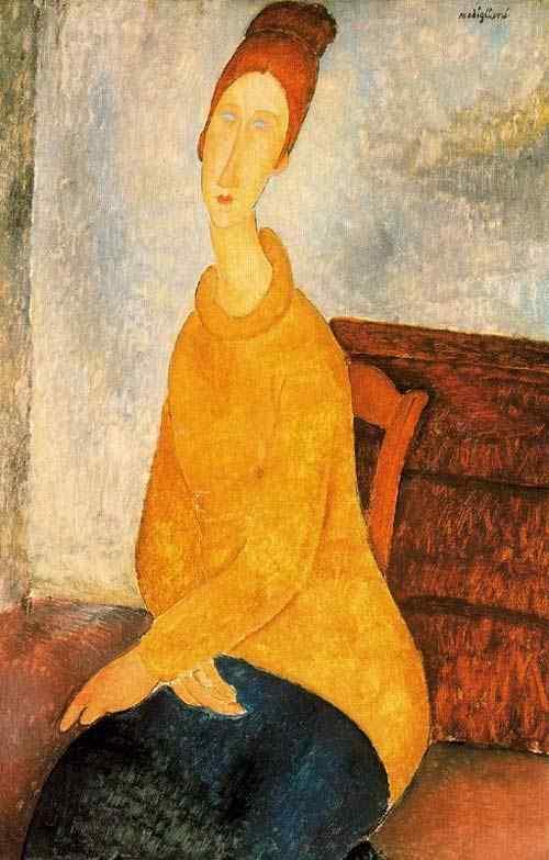 Amedeo Modigliani - Jeanne Hébuterne no suéter amarelo