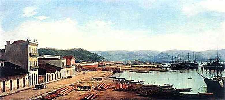 Benedito Calixto - Porto do Consulado e Serra do Mar