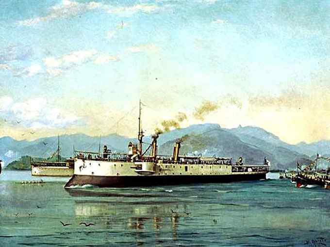 Benedito Calixto - Barco do Porto de Santos (ou A Canhoneira Pátria)