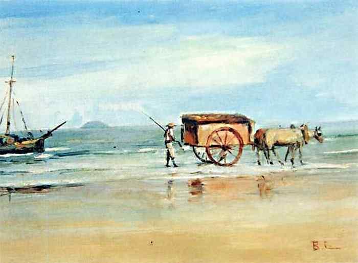 Benedito Calixto - Praia Grande com carro e carroceiro