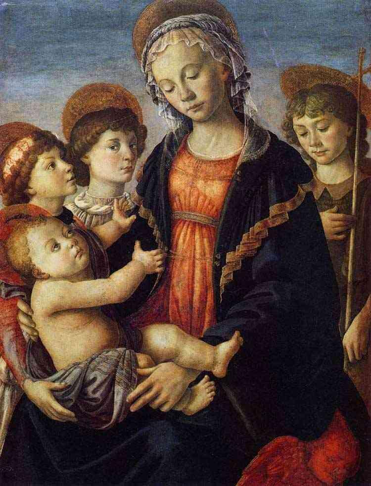 Botticelli (Alessandro di Mariano Filipepi) - A Virgem e Criança com dois anjos e o jovem São João Batista