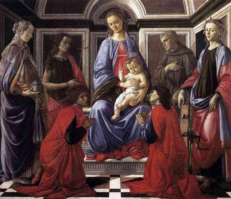 Botticelli (Alessandro di Mariano Filipepi) - Madona e Criança com seis santos