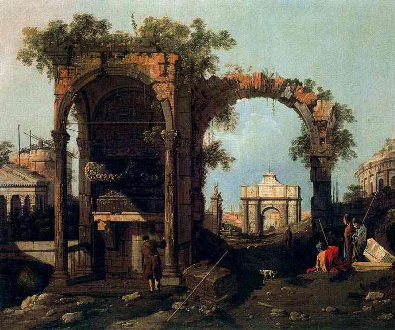 Canaletto (Antonio Canale) - Paisagem com ruínas