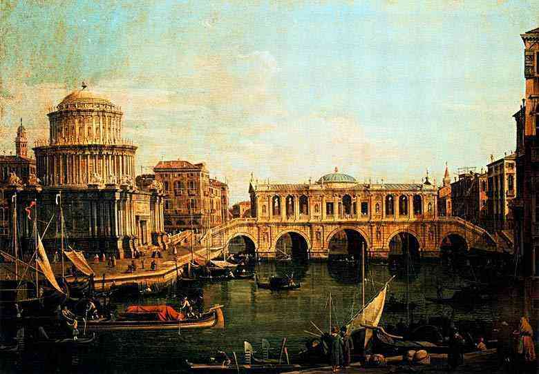 Canaletto (Antonio Canale) - O Grande Canal com o oeste de Rialto e outros edifícios imaginários