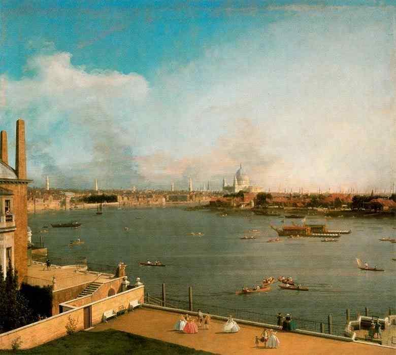 Canaletto (Antonio Canale) - O Tâmisa e o centro de Londres, desde Richmond House