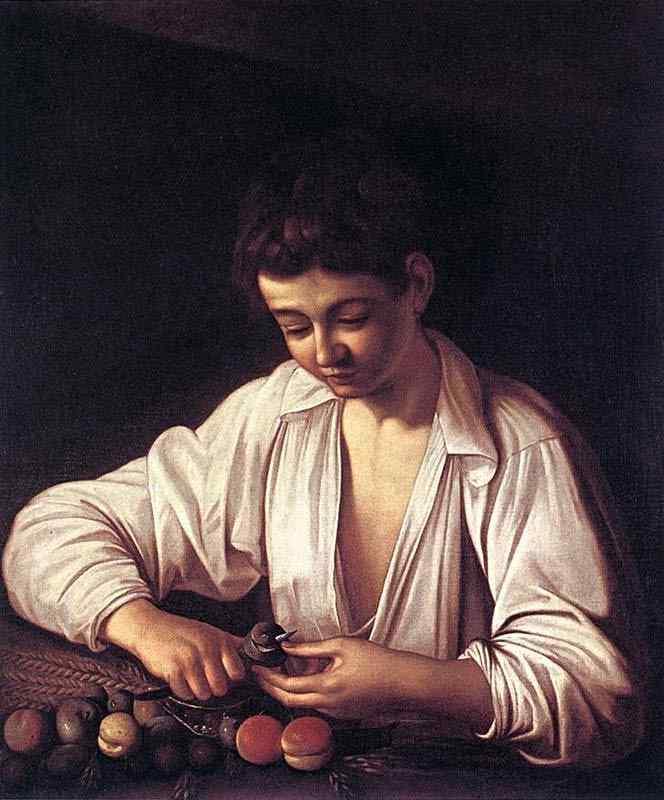 Caravaggio (Michelangelo Merisi) - Menino descacando uma fruta