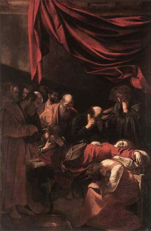 """Caravaggio (Michelangelo Merisi) - A morte da Virgem (também conhecido como """" O adormecimento da Virgem"""")"""