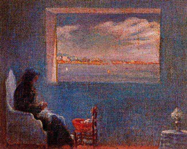 Salvador Dali - Retrato da avó Ana costurando