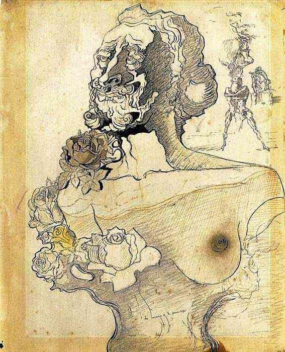 """Salvador Dali - Estudo para """"Memória da menina-mulher"""""""