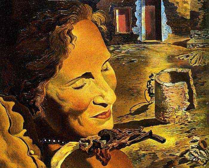 Salvador Dali - Retrato de gala com duas costelas de carneiro balançando sobre seus ombros