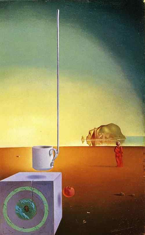 """Salvador Dali - Fragmento de mesa solar (conhecido também como """"Meia-taça gigante suspensa com anexo inexplicável de cinco metros de altura"""""""