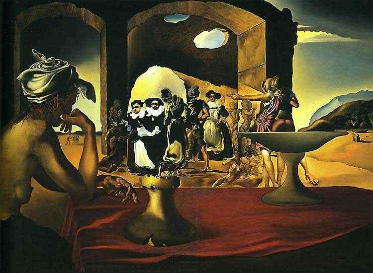 Salvador Dali - Mercado de escravos com o busto de Voltaire desaparecendo