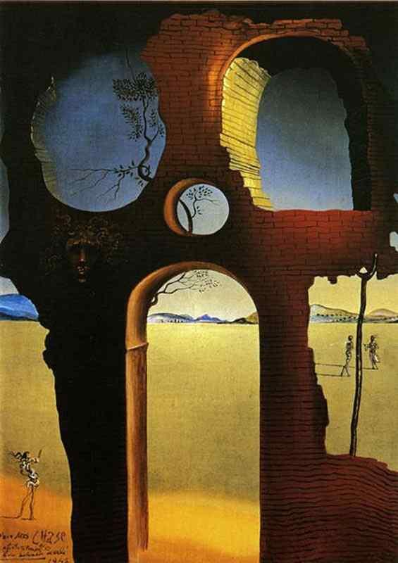 Salvador Dali - Ruína com a cabeça da Medusa e paisagem (dedicado para a Sra. Chase)