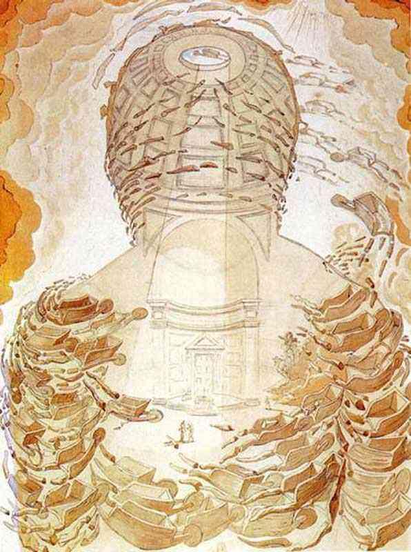 Salvador Dali - As carretilhas (Panteão formado por carretilhas tortas)