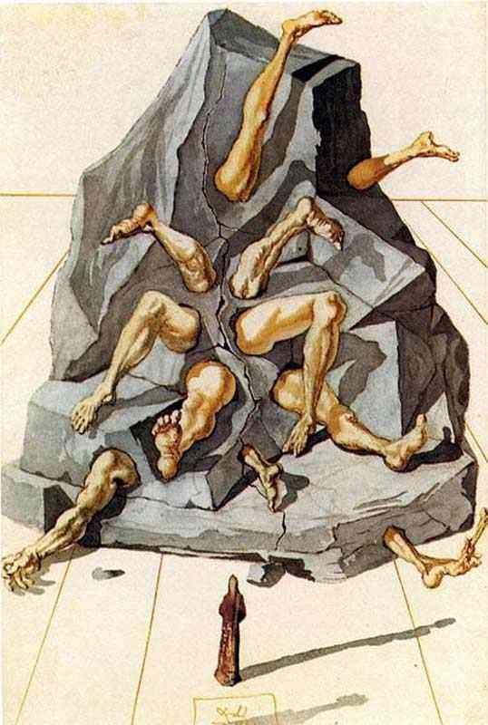 """Salvador Dali - Os Simoníacos (Ilustracão para """"A Divina Comédia"""", de Dante)"""