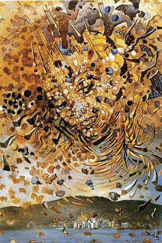 Salvador Dali - Cabeça bombardeada com grãos do trigo (Partículas da cabeça sobre a vila de Cadaqués
