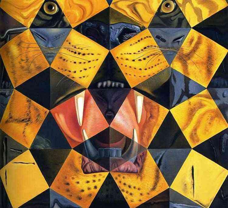 Salvador Dali - Cinqüenta pinturas abstratas que vistas a uma distância de duas jardas se converten em três Lenins disfarçados de chineses e vistas a uma distância de seis jardas aparecem como a cabeça de um tigre re
