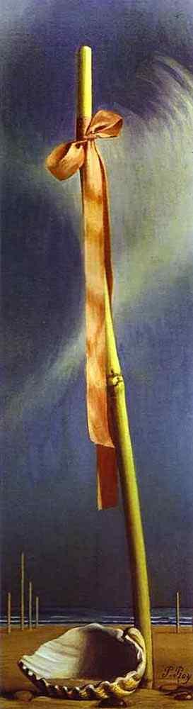 Salvador Dali - Laço rosa e concha à beira do mar