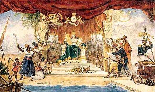 Jean_Baptiste Debret - Cortina de cena do Teatro do Tribunal por ocasião da coroação de D. Pedro I
