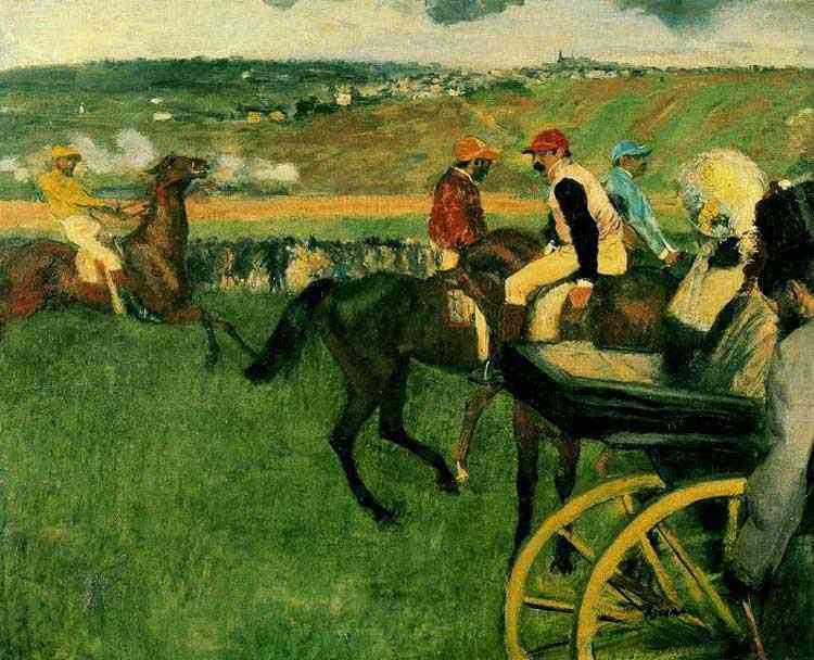 Edgar Degas - A pista de corrida; jockeys amadores em volta de uma carruagem
