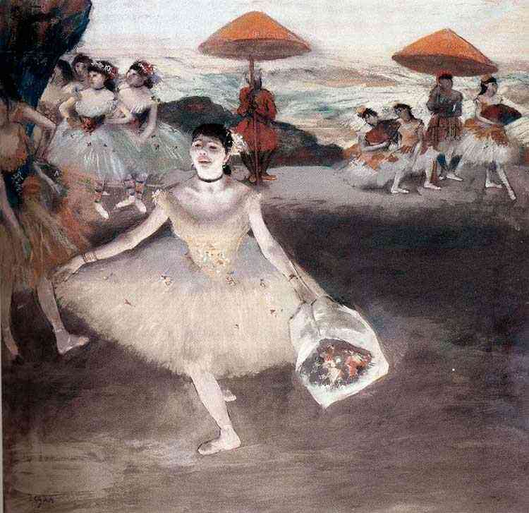 Edgar Degas - Bailarina com ramo de flores, no cenário