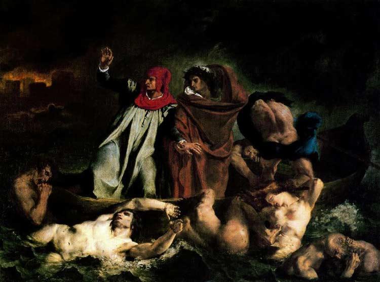 """Ferdinand-Victor Eugène Delacroix - A barca de Dante (também conhecido como """"Dante e Virgílio cruzando o lago que cerca a cidade do inferno"""")"""