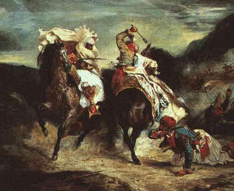 Ferdinand-Victor Eugène Delacroix - Combate entre Giacour e Hassan em Ravine