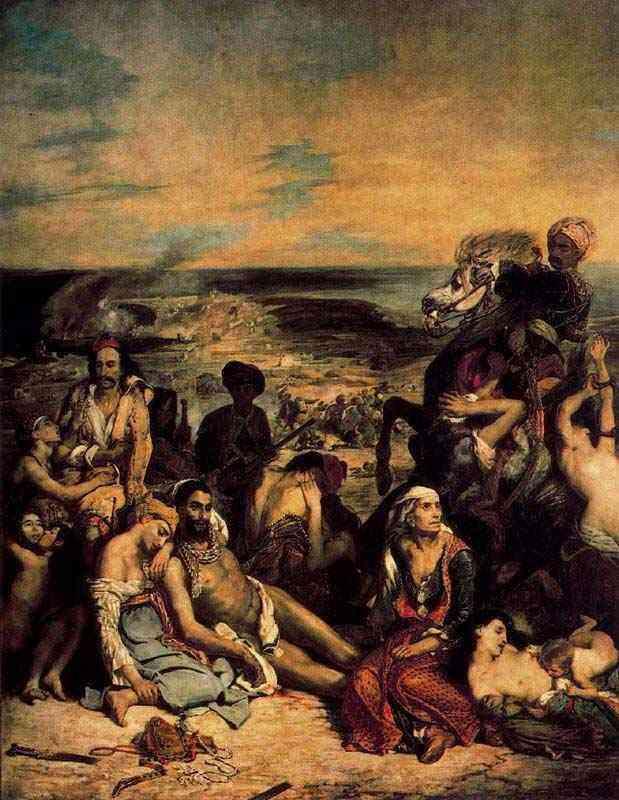 """Ferdinand-Victor Eugène Delacroix - A matança de Quíos (também conhecido como """"Cenas do massacre de Quíos, famílias gragas esperando a morte ou a escravidão"""")"""