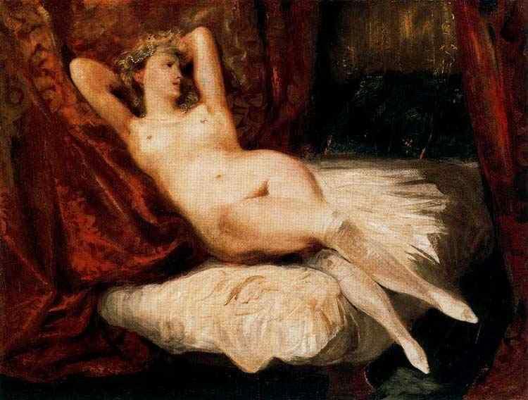 Ferdinand-Victor Eugène Delacroix - A mulher de meias brancas