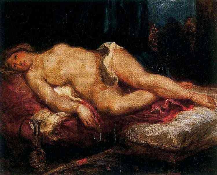 Ferdinand-Victor Eugène Delacroix - Odalisca deitada sobre o divã