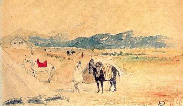 Ferdinand-Victor Eugène Delacroix - Acampamento no Marrocos, entre Tânger e Meknes