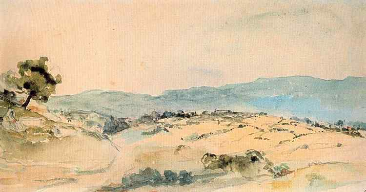 Ferdinand-Victor Eugène Delacroix - Paisagem marroquina perto de Tânger