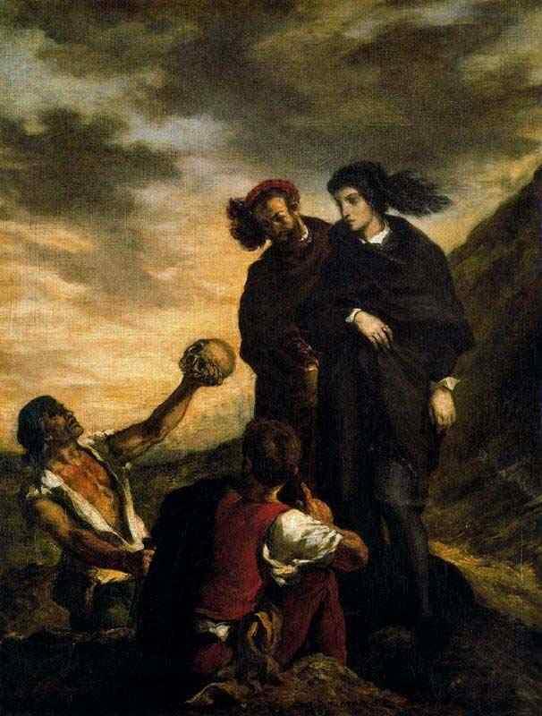 Ferdinand-Victor Eugène Delacroix - Hamlet e Horácio no cemitério