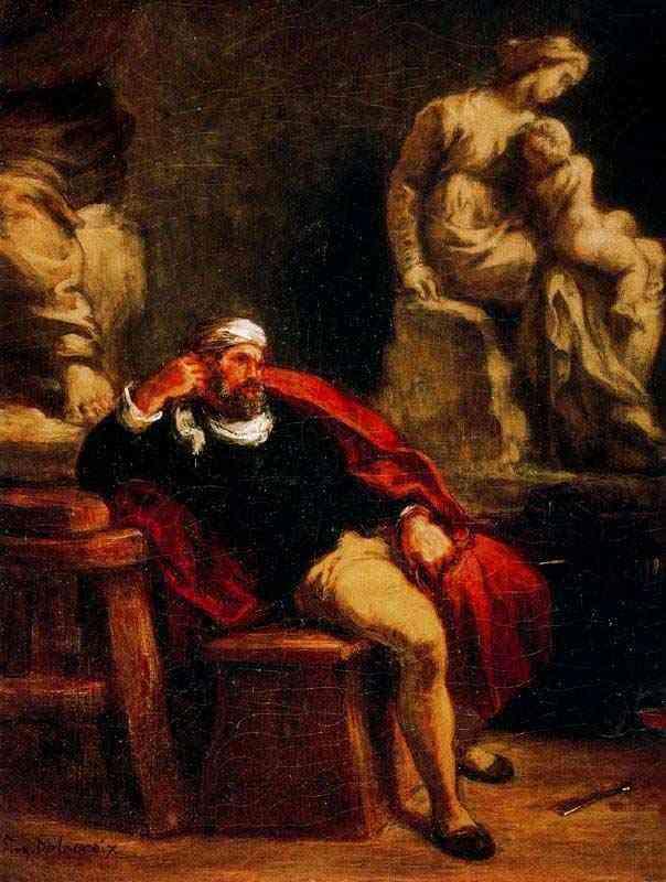 Ferdinand-Victor Eugène Delacroix - Michelangelo em seu estúdio