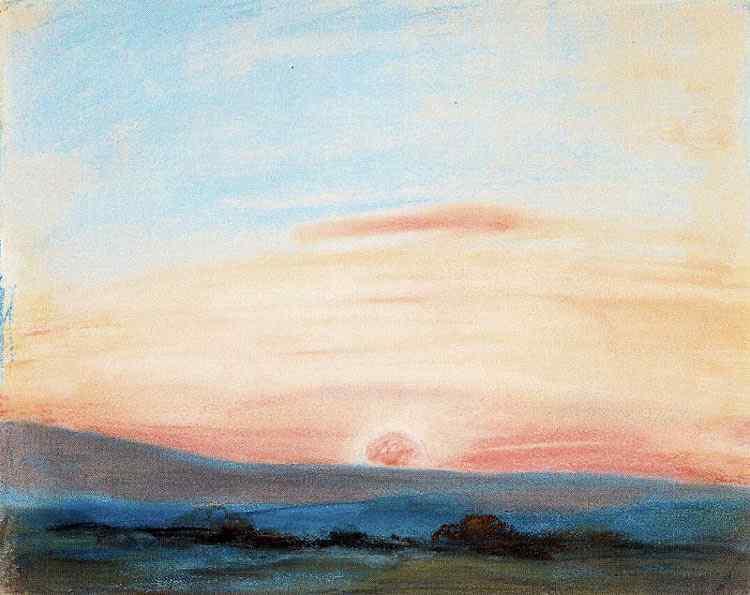 Ferdinand-Victor Eugène Delacroix - Estudo do céu ao entardecer