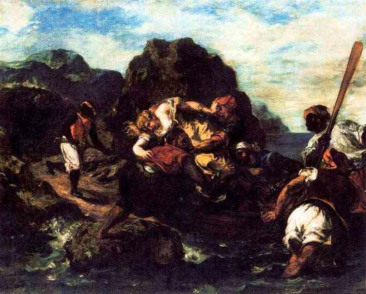 Ferdinand-Victor Eugène Delacroix - Piratas africanso raptando uma jovem