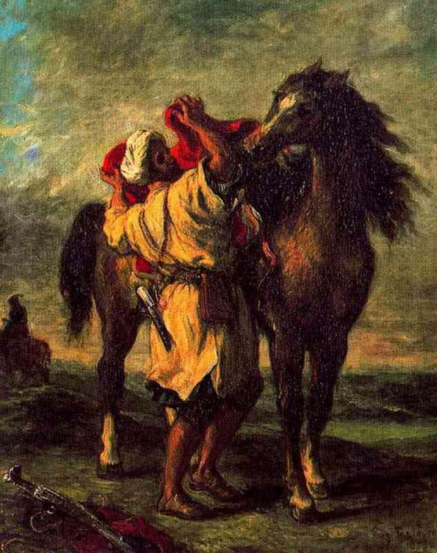 Ferdinand-Victor Eugène Delacroix - Árabe selando seu cavalo