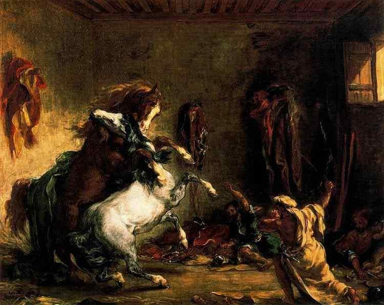 Ferdinand-Victor Eugène Delacroix - Cavalos árabes lutando no estábulo