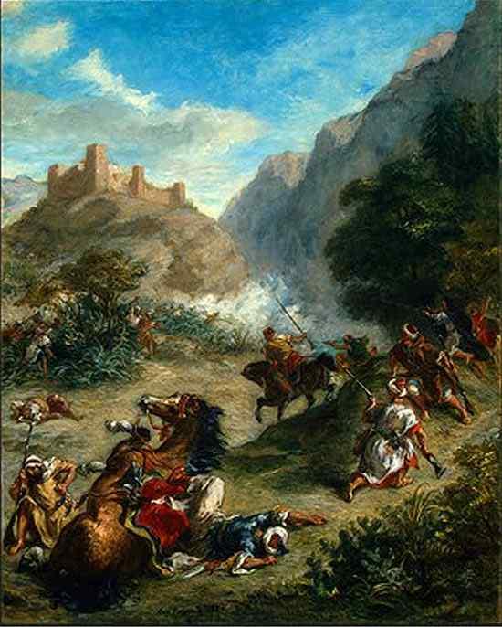 Ferdinand-Victor Eugène Delacroix - Cavalaria árabe lutando nas montanhas