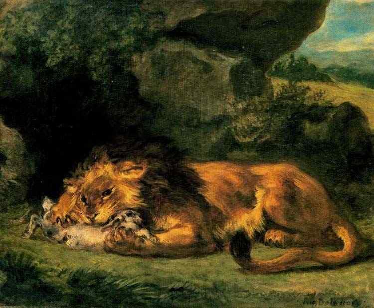 Ferdinand-Victor Eugène Delacroix - Leão devorando um coelho
