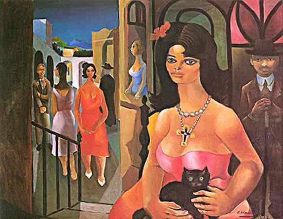 Diego Rivera (Diego María de la Concepción Juan Nepomuceno Estanislao de la Rivera) - Mulher com gato