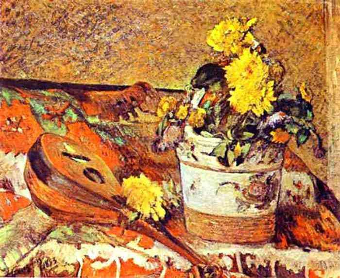 Eugène-Henri-Paul Gauguin - Natureza morta com bandolim