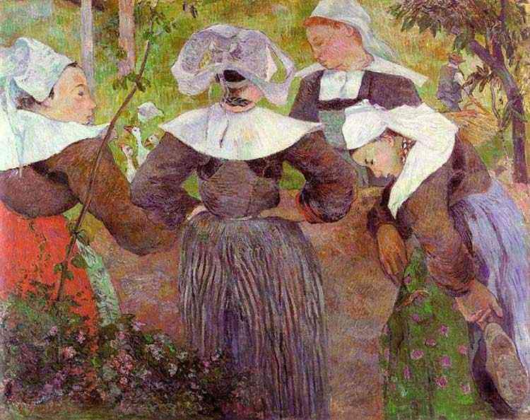 Eugène-Henri-Paul Gauguin - Quatro mulheres bretãs