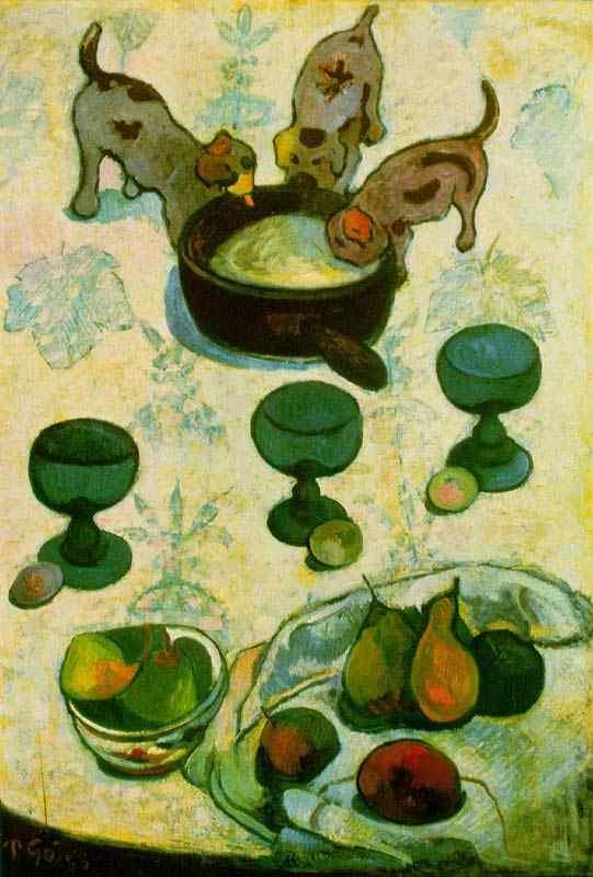 Eugène-Henri-Paul Gauguin - Natureza morta com três filhotes de cachorro