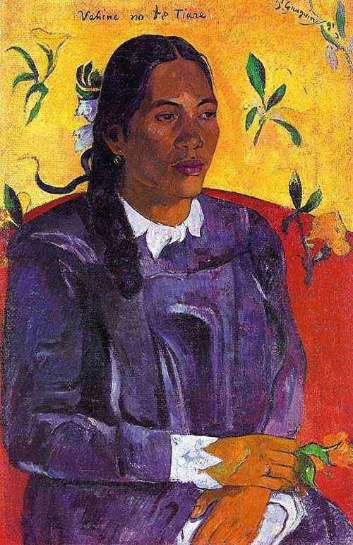 Eugène-Henri-Paul Gauguin - Mulher com flor (Vahine no te tiare)