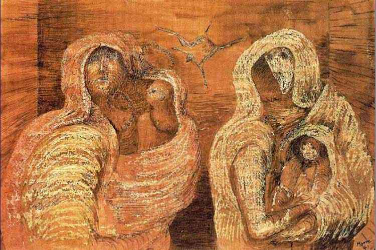 Henry Moore - Figuras envoltas com os filhos