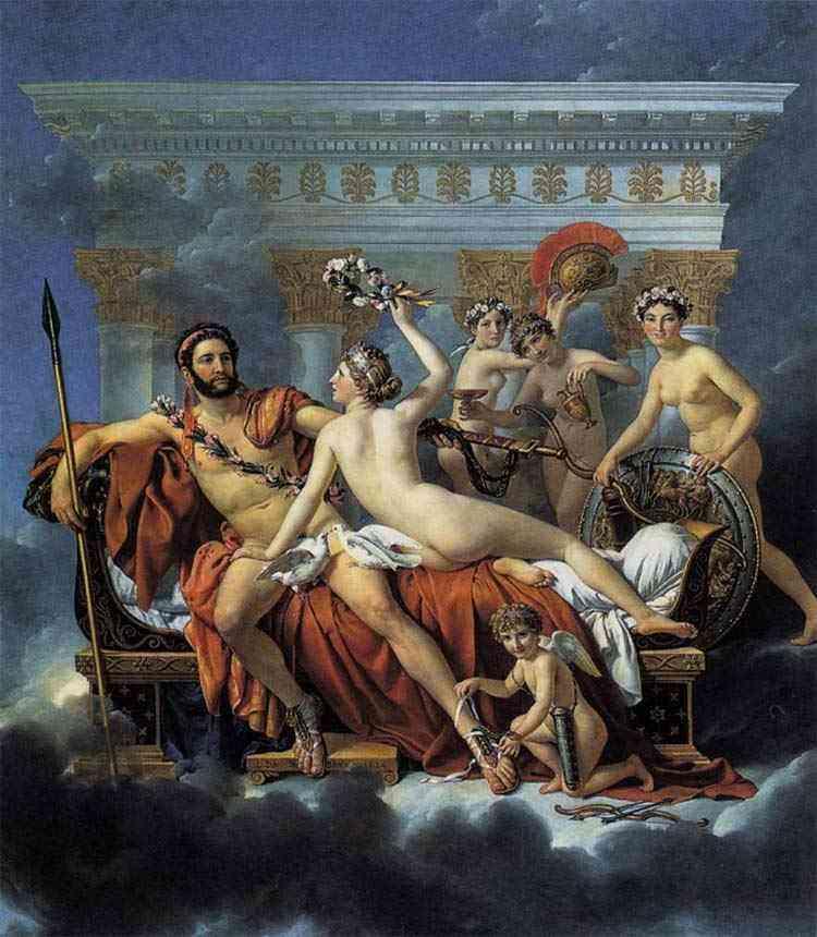 Jacques-Louis David - Marte desarmado por Vênus e as Três Graças